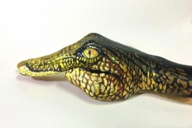 手掌变身3D鳄鱼头 长沙大学生微博晒手绘作品引网友点赞