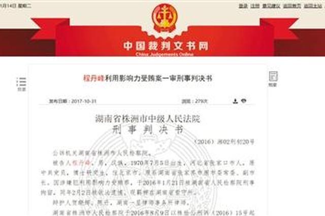 苏荣女婿程丹峰受贿近千万判8年 曾任张家界副市长