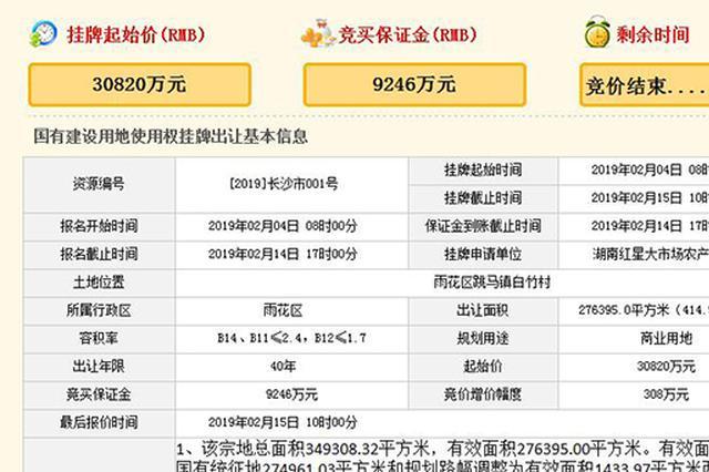 春节后长沙首宗商业用地被湖南红星大市场3.08亿拍得