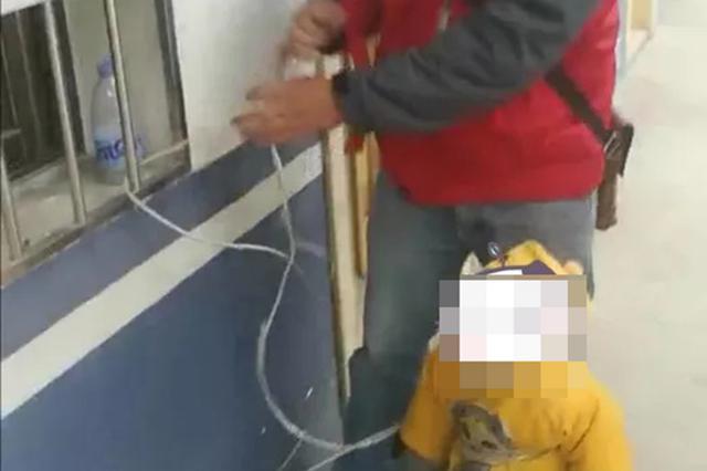 男子将一岁半儿子绑在派出所窗户上逃离 警方:涉嫌遗弃婴儿