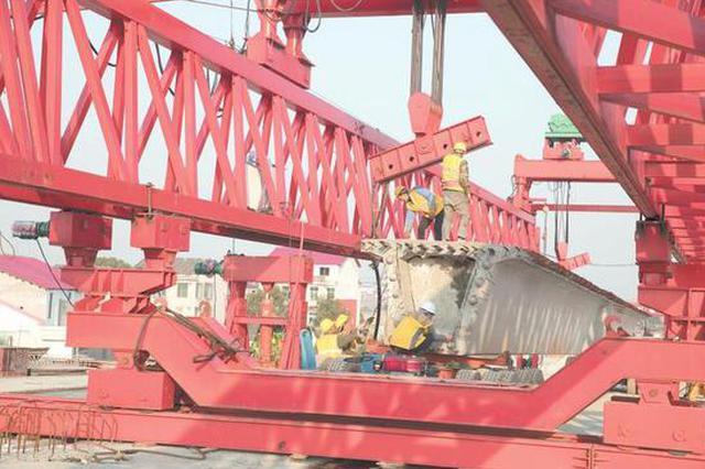 岳阳汨罗城区第4座铁路桥开始架梁