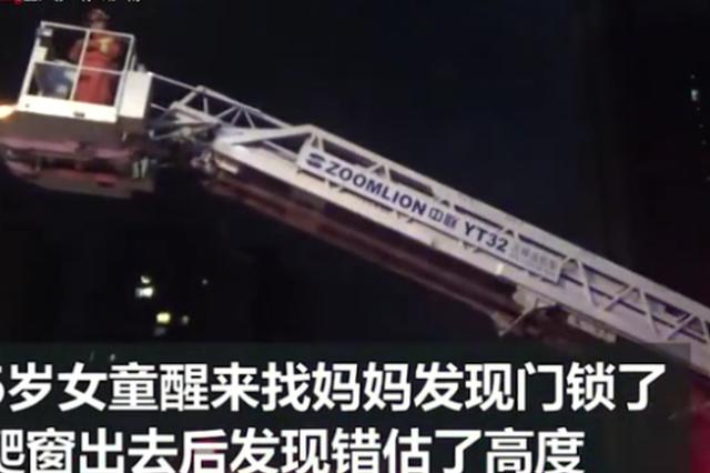 株洲消防员搭云梯救下6岁女童