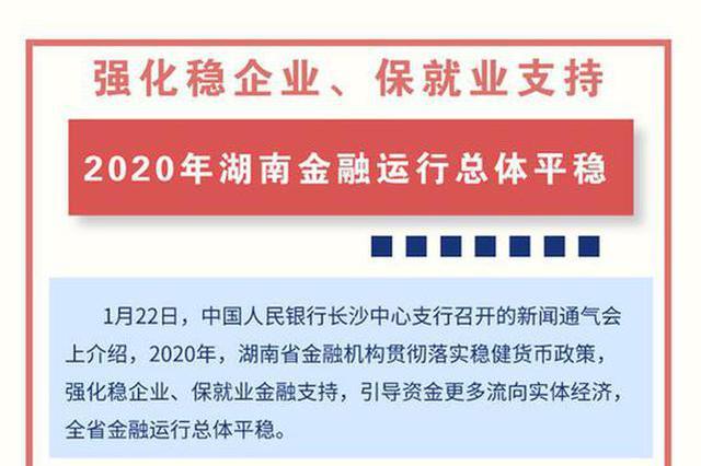 强化稳企业、保就业支持:2020年湖南金融运行总体平稳