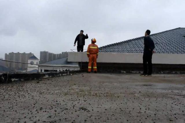 男子爬上顶楼狭小平台来回走动,消防员轮番劝说成功营救
