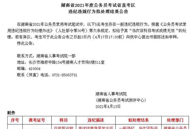 通报!湖南今年省考笔试已公布13名考生违纪违规