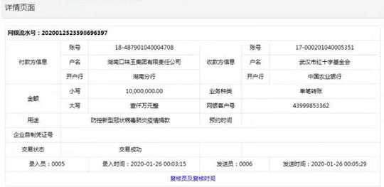 口味王集团向武汉红基会捐赠1000