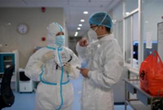张丽与同事在黄冈大别山区域医疗中心进行工作