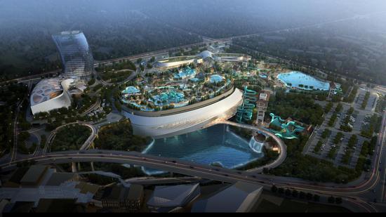 空中戏水地下玩雪,悬崖上享惊险刺激 湘江欢乐城部分主体工程已完工