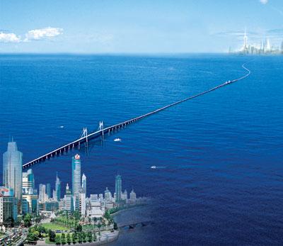 2008年5月1日,杭州湾跨海大桥试运营通车。