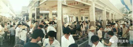 ▲30多年前的耒阳城农贸市场,拥挤、矮小。
