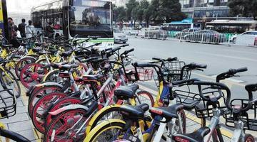 公交站台被共享单车占领 市民车缝找路