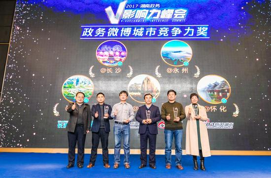 长沙、永州、株洲、衡阳、怀化获得2017湖南政务微博城市竞争力奖