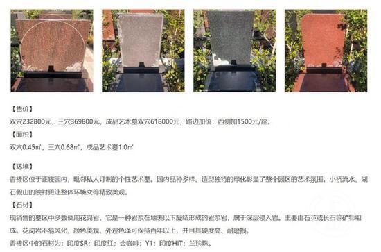▲上海某公墓一套双穴立碑墓地售价23万元。图片来源/网站截图