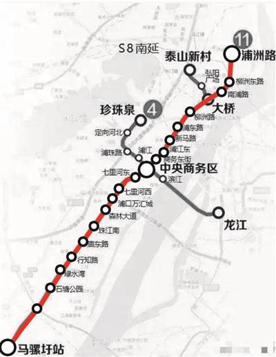 地铁11号线走向图。图据南京地铁