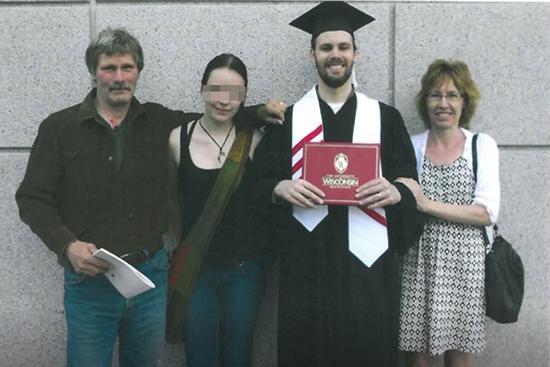 克里斯滕森从威斯康辛大学毕业时和家人的合影