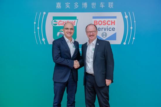 左:嘉实多全球副总裁卡洛斯先生,右:博世汽车售后市场大中华区总裁安德世先生