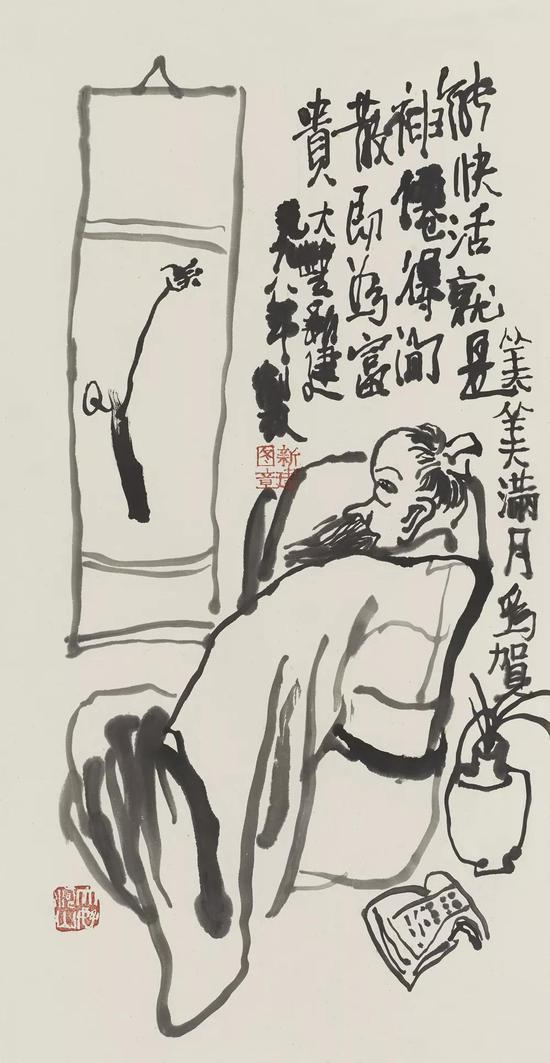 高士图水墨纸本68×34cm