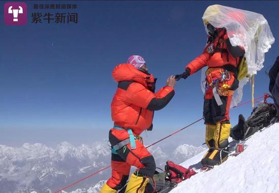 泽龙在珠穆朗玛峰顶向番茄求婚