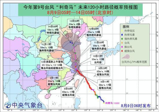 """图1 今年第9号台风""""利奇马""""未来120小时路径概率预报图"""