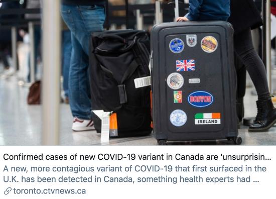"""公共卫生专家表示,加拿大出现变异新冠病毒确诊病例""""不足为奇""""。"""