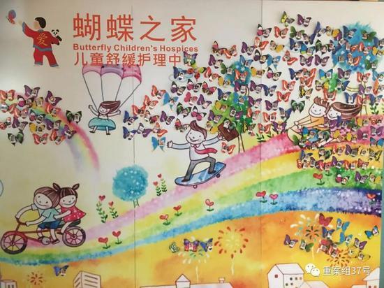 """蝴蝶之家有一面""""蝴蝶墙"""",纸蝴蝶上贴着每一位入住过的孩子的照片。  新京报记者 周世玲 摄"""
