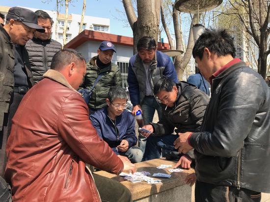 没活干的时候,一些农民工?#19981;?#25171;牌消遣。新京报记者祖一飞摄