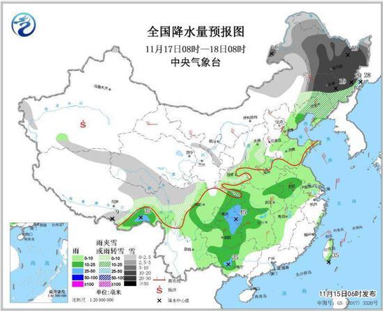图5 全国降水量预报图(11月17日08时-18日08时)