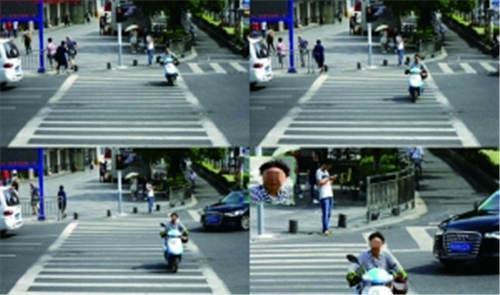 行人闯红灯的画面在大屏上曝光大屏截图