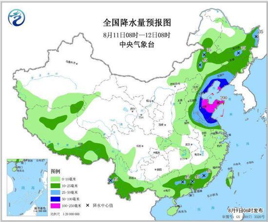 图5 全国降水量预报图(8月11日08时-12日08时)