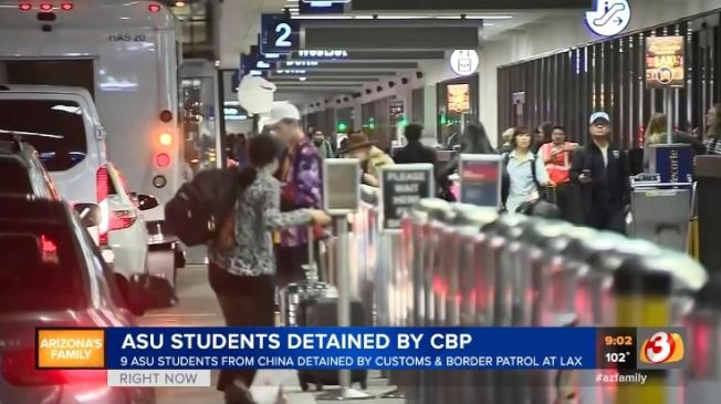 美国媒体报道中国留学生被扣留事件。