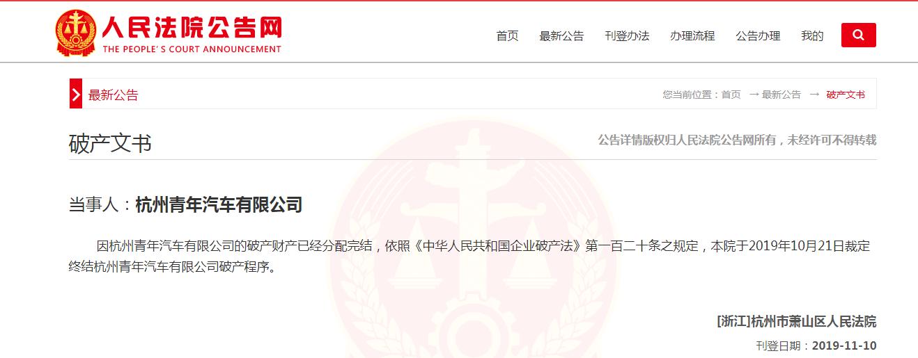人民法院公告网展示的信息显示,杭州青年汽车有限公司已完成破产程序,宣告破产
