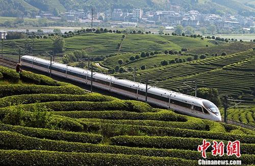 4月8日,一列动车组行驶在合福高铁武夷山区段的南岸特大桥上。4月10日零时起,全国铁路将实施新的列车运行图,优化高铁列车开行方案。 中新社发 郭淑媛 摄