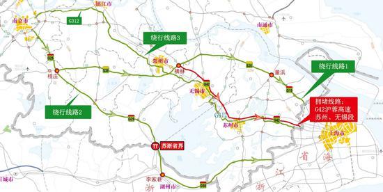 图21 G42沪蓉高速苏锡段绕行线路