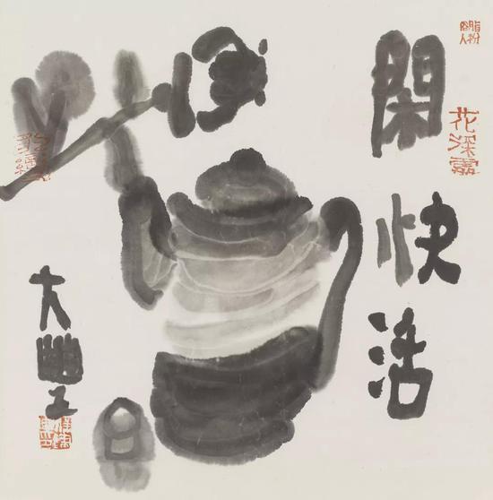 闲快活水墨纸本34×34cm