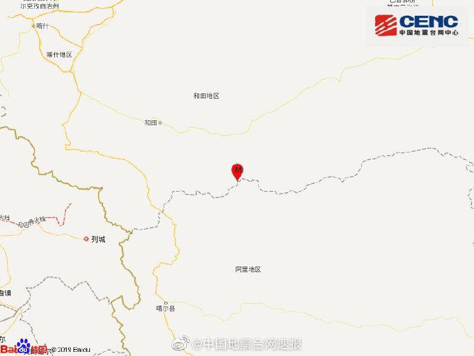 新疆于田县今晨接连发生5次地震,最大震级6.4级