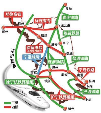 江苏三纵四横高铁网 制图:张翠莲