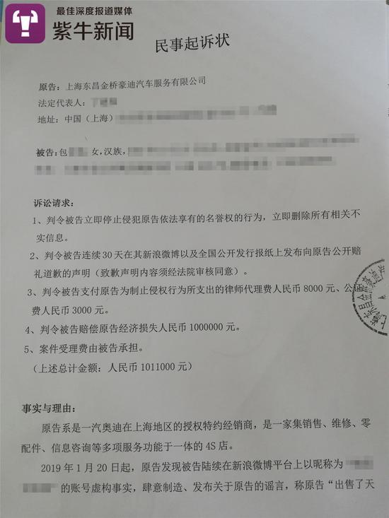 豪迪4S店起诉包女士的民事诉讼状