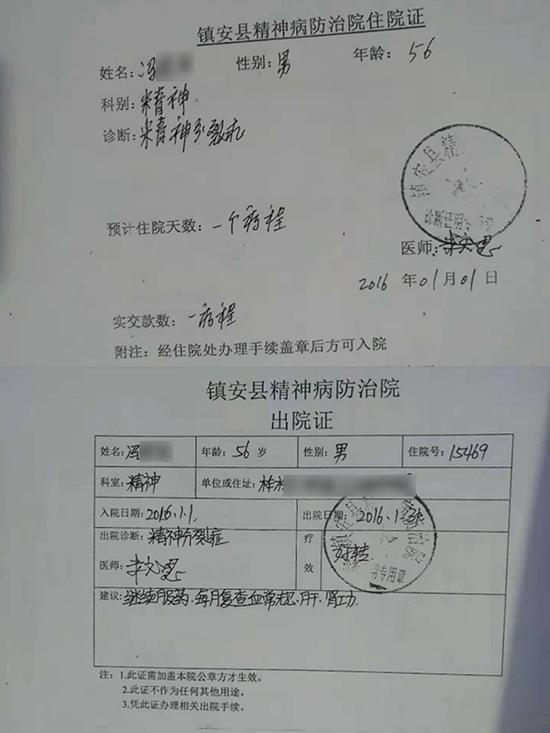 2016年1月的住院证及出院证