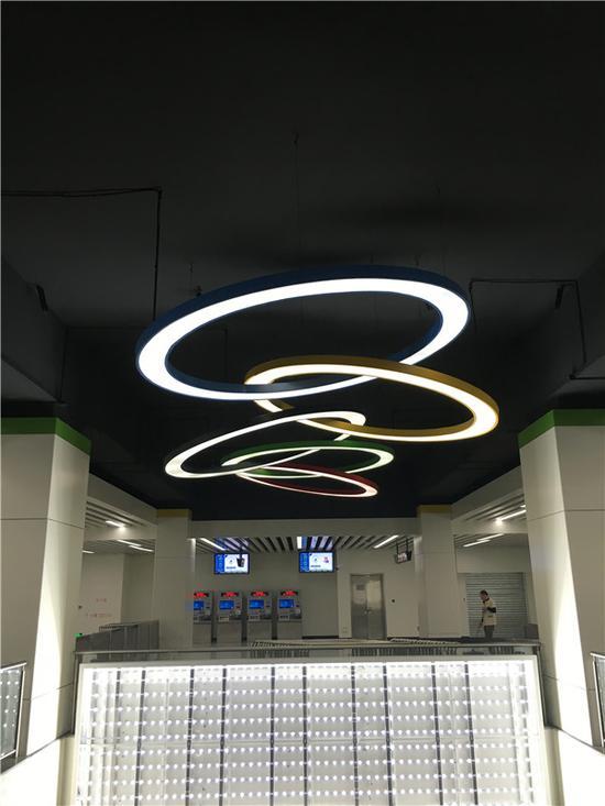 奥体中心站的奥运元素