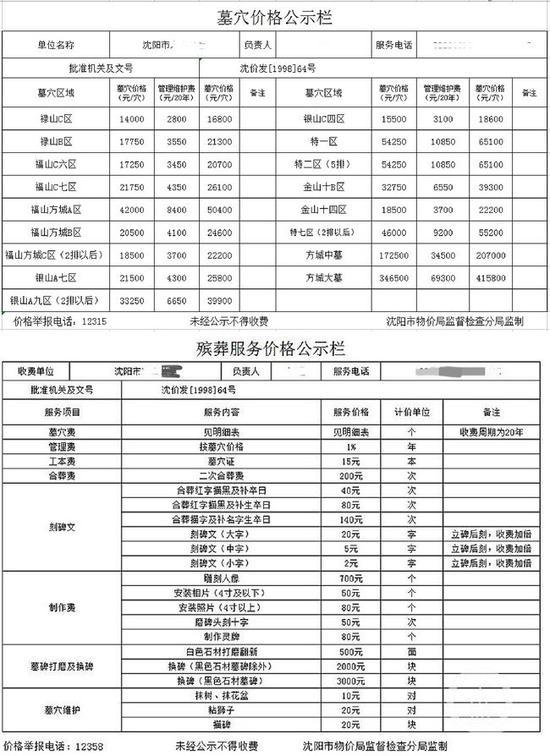 ▲沈阳市某公墓在网站上发布价格公示。图片来源/网站截图