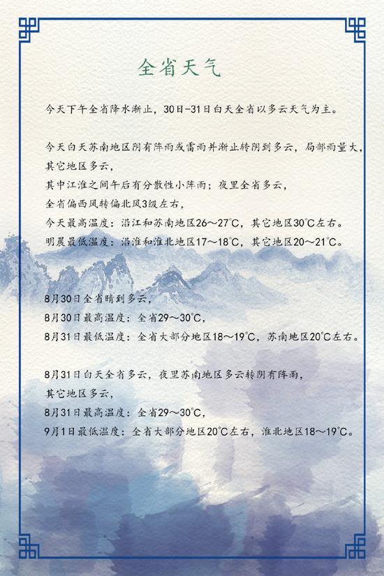 一场秋雨一场凉 江苏最低气温降至1字头