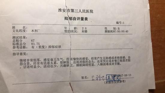 淮安市第三人民医院对王雪出具的抑郁自评表。受访者供图