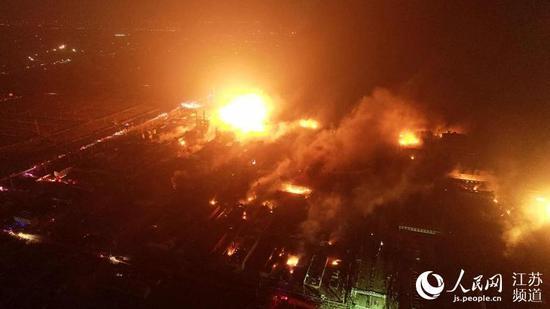 航拍爆炸事故现场 人民网-江苏频道 图