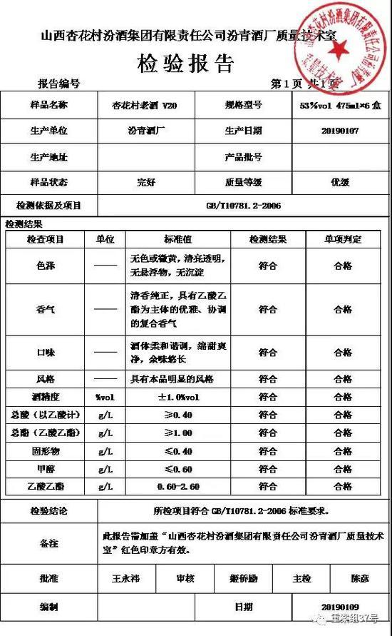 """一款""""开发酒""""的检验报告中,生产厂址和批号一栏空白。新京报记者 吴江 摄"""