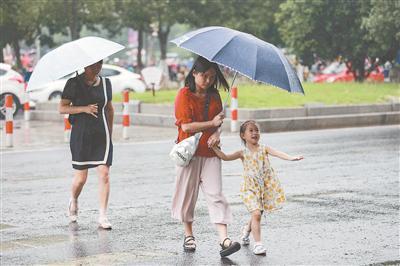 17日,南京迎来降雨天气,给人们带来一丝清凉。 蒋文超摄
