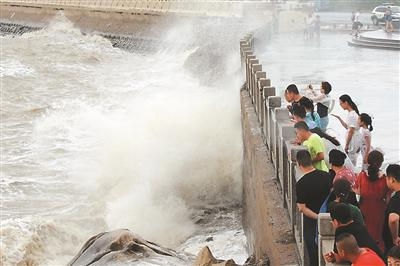 """10日,受今年第9号台风""""利奇马""""的影响,连云港沿海出现大风大浪,引得不少群众驻足关注。 耿玉和摄 视觉江苏网供图"""