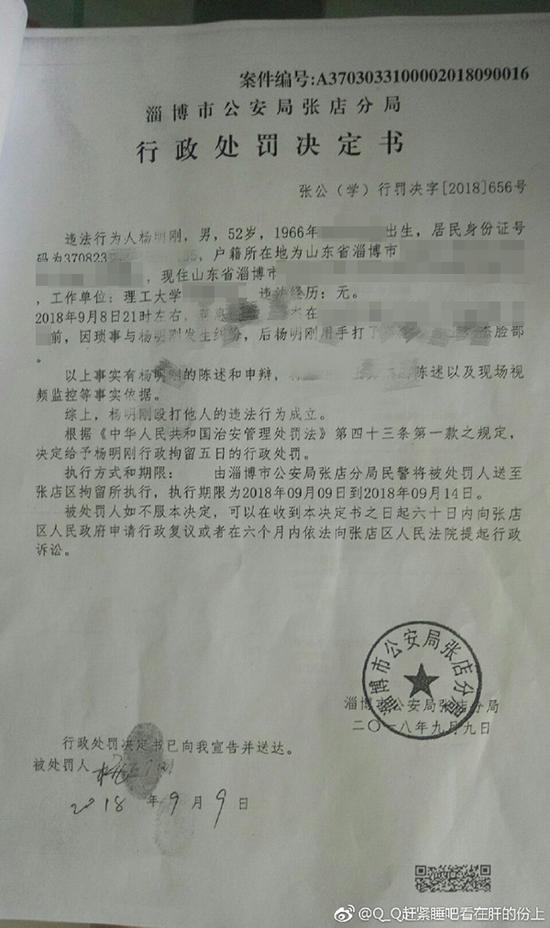 警方开具的行政处罚决定书