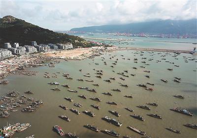 9日,连云港市连云区西连岛村渔业码头,渔船靠泊港湾躲避台风。 耿玉和摄