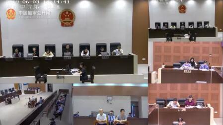 ▲杨某松、杨某响涉故意杀人罪一审庭审直播。视频直播截图