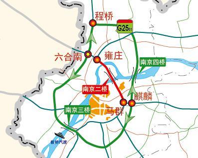 图17 南京二桥过境绕行线路(双向)